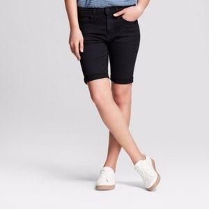Women's High-Rise Roll Cuff Bermuda Jean Shorts 12